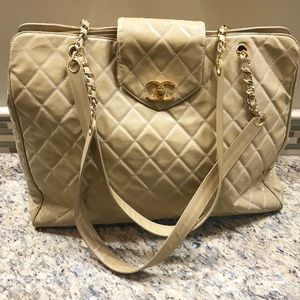 378c06e89c78 Chanel Supermodel Gold CC Tote Quilted Bag XL